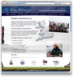 Website design and development for Outeractive Outdoor pursuits stag and hen parties canoeing and gorgewalking